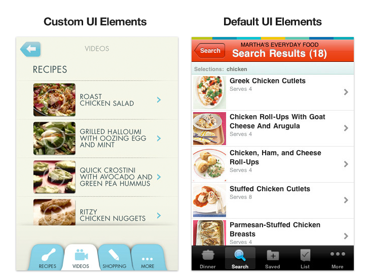 custom designed app vs. templated app