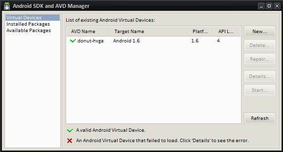 Android Development Virtual device creation
