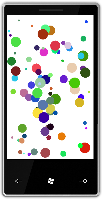 Windows Phone 7 simulator running the bouncing balls app.