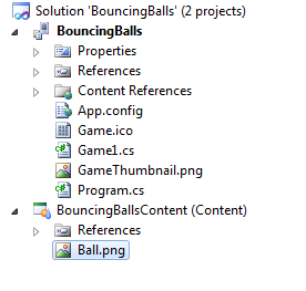 BouncingBalls solution explorer after adding the required texture