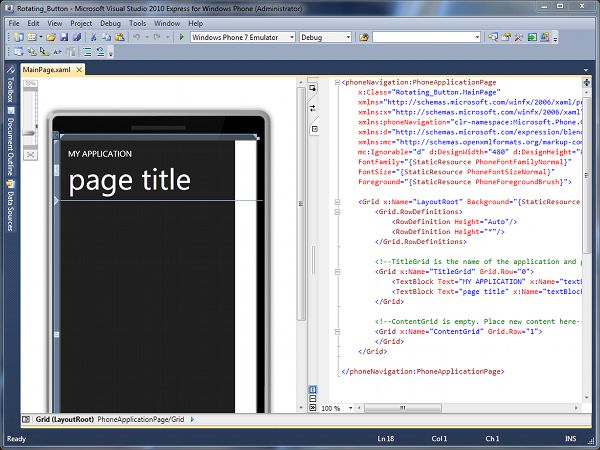 The MainPage.xaml file open in Design/Code Mode Windows Phone 7 Development