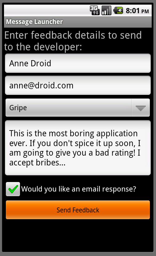 Android SDK: Creating Forms