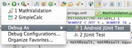 junit testing, Debugging JUnit Test