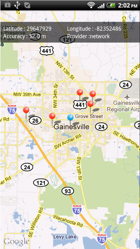 Mapview showing mall locations