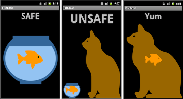 Three screens of the Fishbowl App