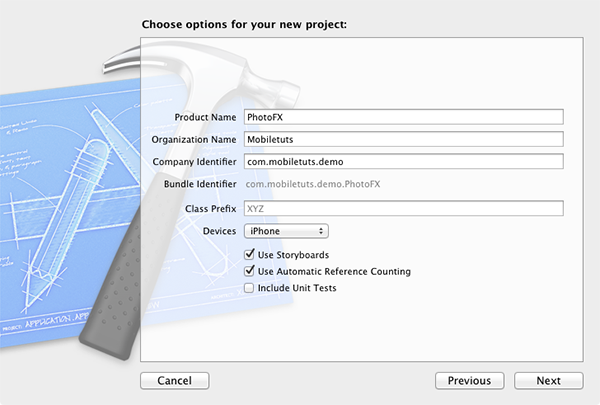Figure 2: Project Setup Screen
