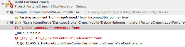 Xcode Debugging - Figure 2 - Linking vs. Build Phase