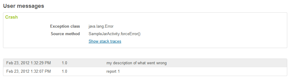 User messages with error reports