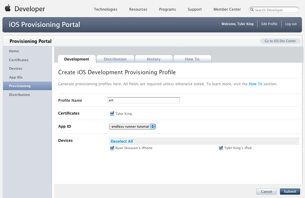 Provisioning Profile Creation