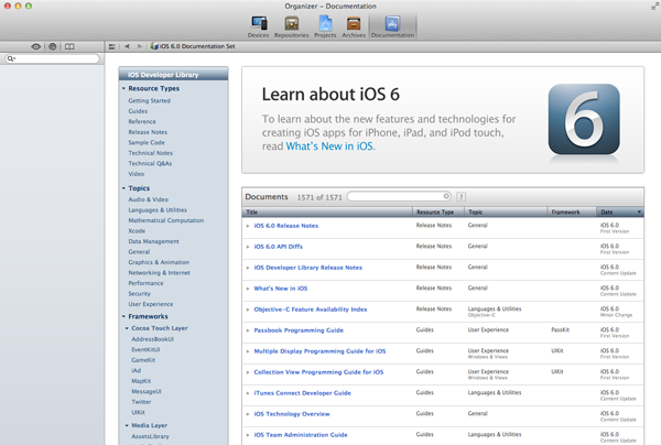 Exploring Cocoa and the iOS SDK - Browsing the Documentation Using Xcode's Organizer - Figure 2