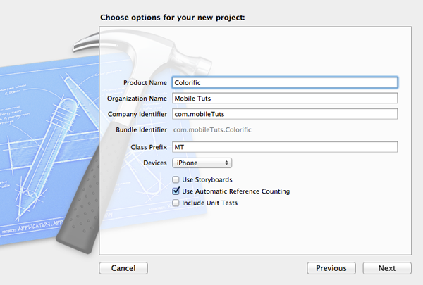 Creating Your First iOS Application - Configuring the Xcode Project - Figure 3