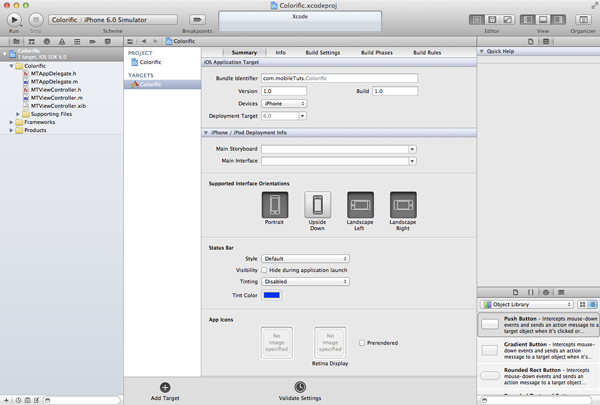 Creating Your First iOS Application - Xcode's Main View Showing the Project's Details - Figure 10