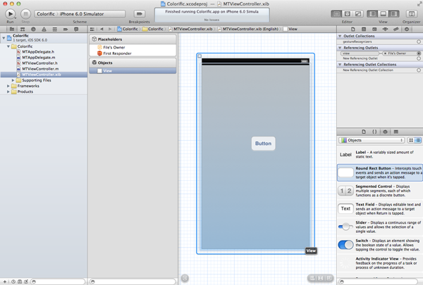 Creating Your First iOS Application - Drag a Button from the Object Library to the Main View - Figure 14
