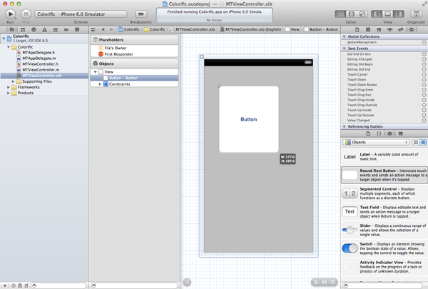Creating Your First iOS Application - Resize the Button to Cover the Entire View - Figure 15