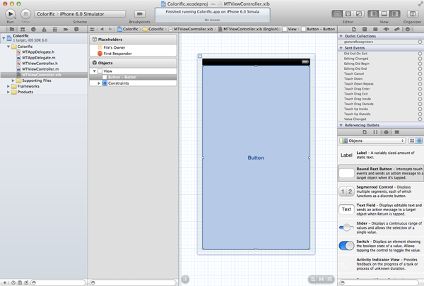 Creating Your First iOS Application - The Button Covers the Entire view - Figure 16