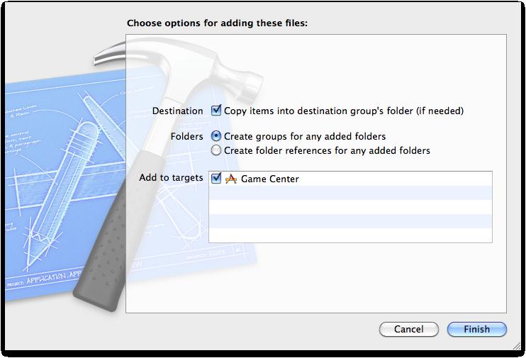 Las opciones para agregar los archivos