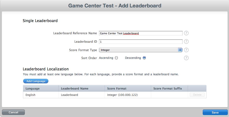Añadir Leaderboard