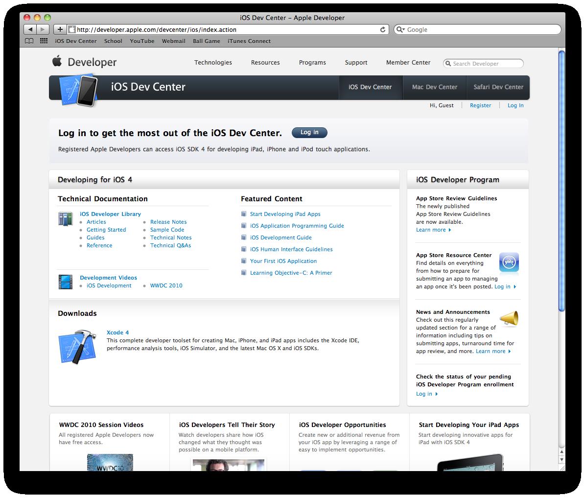 iOS Centro de desarrollo
