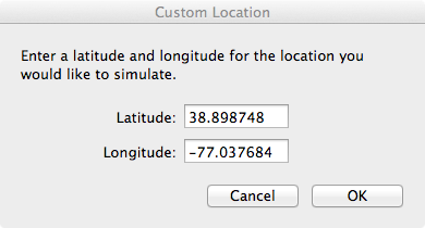 Setting Simulator Location