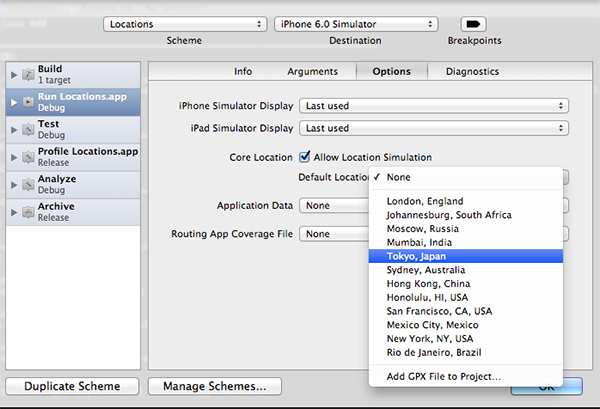 Configuring a Default Location