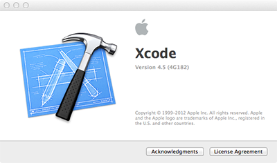 About Xcode Screen