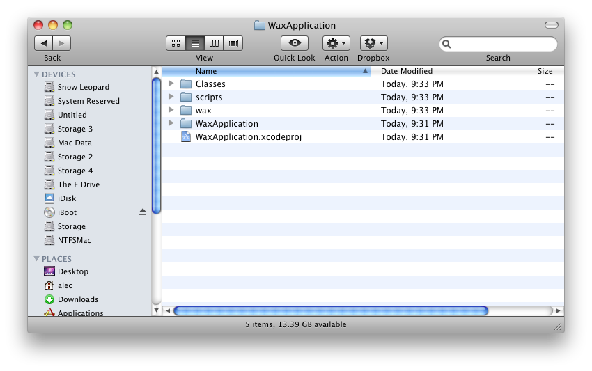 Your project folder should look like this